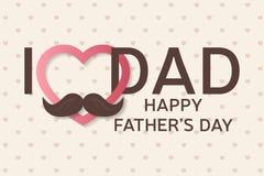 Lyckligt fader kort för daghälsning Lycklig faders affisch för dag farsan älskar jag dig Royaltyfri Foto