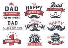 Lyckligt faders emblem Logo Vector Element för dag stock illustrationer