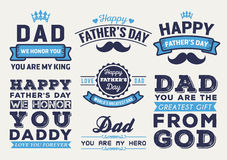Lyckligt faders emblem Logo Vector Element Set för dag royaltyfri illustrationer