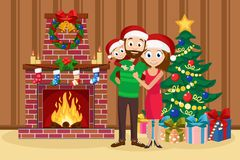 Lyckligt familjanseende bredvid trädet och spisen royaltyfri illustrationer