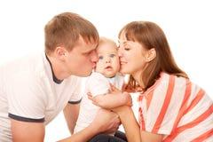 Lyckligt familjbegrepp. Arkivfoto