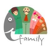 Lyckligt familjbegrepp med elefanten stock illustrationer
