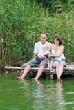 Lyckligt familjfiske Arkivfoton