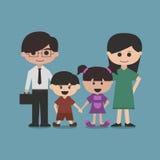 Lyckligt familjtecknad filmtecken  Royaltyfri Foto