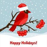 Lyckligt feriehälsningkort med den röda fågeln stock illustrationer