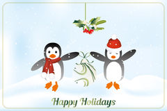 Lyckligt feriekort med pingvin Arkivbild