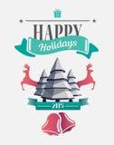 Lyckligt feriemeddelande med illustrationer Arkivbild