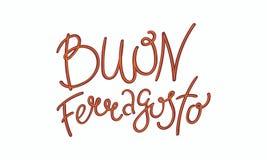 Lyckligt Ferragosto citationstecken i italienare royaltyfri illustrationer