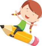 Lyckligt flickaflyg på en blyertspenna royaltyfri illustrationer