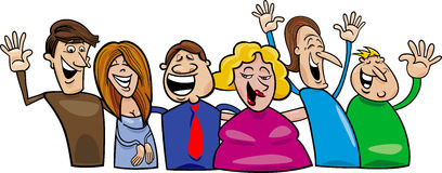 lyckligt folk för grupp stock illustrationer