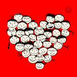 Lyckligt folk, hjärtaform för din design Royaltyfria Foton