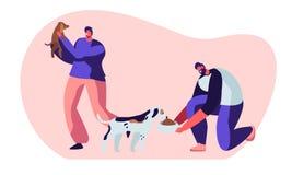 Lyckligt folk med hundkapplöpning, matning som spelar med valpen Manliga tecken spenderar Tid med tamdjur, att att bry sig av dem stock illustrationer