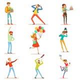 Lyckligt folk som firar, ger gåvor och har gyckel på en uppsättning för födelsedagparti av den färgrika teckenvektorn royaltyfri illustrationer