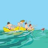Lyckligt folk som har gyckel på bananfartyget stock illustrationer