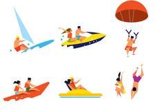 Lyckligt folk som har gyckel på strandaktiviteter Arkivbilder