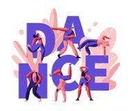 Lyckligt folk som klubbar och dansar diskot discjockeymusikparti Tecken f royaltyfri illustrationer