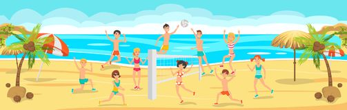 Lyckligt folk som spelar strandvolleyboll solig dag stock illustrationer