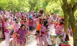 Lyckligt folk under Batalla del vino Royaltyfri Fotografi