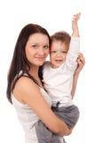 Lyckligt fostra med ett barn Arkivfoton