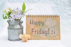 Lyckligt fredag kort med lycklig elefantlera och tennblomkrukan Royaltyfria Bilder