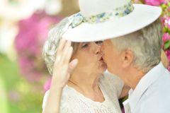 lyckligt gammalt för par Arkivbild