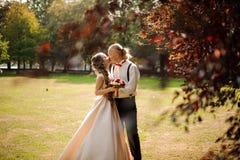 Lyckligt gift par som kysser på ett fält för grönt gräs med träd fotografering för bildbyråer
