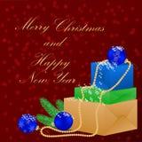 lyckligt glatt nytt år för jul Bakgrund med julgåvor och garneringar stock illustrationer