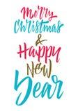 lyckligt glatt nytt år för jul bokstäver stock illustrationer