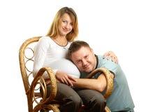 lyckligt gravid för par Fotografering för Bildbyråer