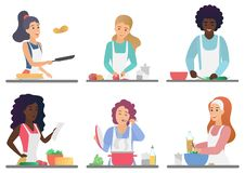 Lyckligt gulligt folk för tecknad film som lagar mat den uppsättning isolerade vektorillustrationen royaltyfri illustrationer