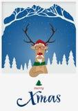 Lyckligt hälsningkort för glad jul Röd näsa för ren som framme står av snövinterplats X Mas-typografi med snöräkningen Arkivbild
