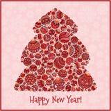 Lyckligt hälsningskort för nytt år Julgran från bollillustra Arkivbilder