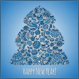 Lyckligt hälsningskort för nytt år Julgran från bollillustra Royaltyfri Bild