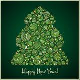 Lyckligt hälsningskort för nytt år Julgran från bollillustra Arkivbild