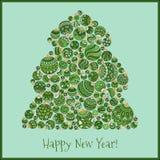 Lyckligt hälsningskort för nytt år Julgran från bollillustra Fotografering för Bildbyråer
