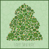 Lyckligt hälsningskort för nytt år Julgran från bollillustra Royaltyfri Fotografi