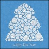 Lyckligt hälsningskort för nytt år Julgran från bollillustra Arkivfoton