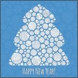 Lyckligt hälsningskort för nytt år Julgran från bollillustra Royaltyfria Foton