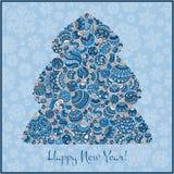 Lyckligt hälsningskort för nytt år Julgran från bollillustra Arkivfoto