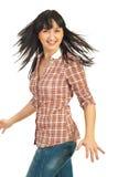 lyckligt hår henne roterande kvinna Royaltyfria Bilder