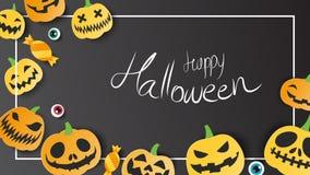 Lyckligt halloweeen kortet för websitebaneraffischen på mörk bakgrund Vektor Illustrationer