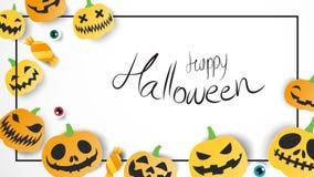 Lyckligt halloweeen kortet för websitebaneraffischen på vit bakgrund Vektor Illustrationer