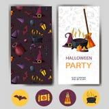 Lyckligt halloween för vektor kort Design för ferieaffisch Partiinbjudanmall Arkivfoton