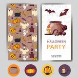 Lyckligt halloween för vektor kort Design för ferieaffisch Partiinbjudanmall Royaltyfri Foto