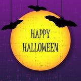 Lyckligt halloween hälsningkort med månen och slagträn vektor illustrationer