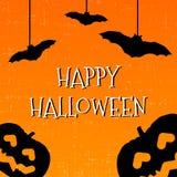 Lyckligt halloween hälsningkort med pumpor och slagträn stock illustrationer