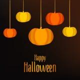 Lyckligt Halloween kort med pumpa vektor stock illustrationer
