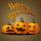 Lyckligt halloween kort med roliga stålarnolla-lyktor Royaltyfri Foto