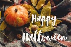 Lyckligt halloween texttecken på höstpumpa med färgrika sidor Royaltyfri Fotografi