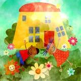 Lyckligt hem för vattenfärg Royaltyfri Fotografi